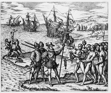 Kolumbusz Kristóf az amerikai kontinensre lép (Rézkarcolat)
