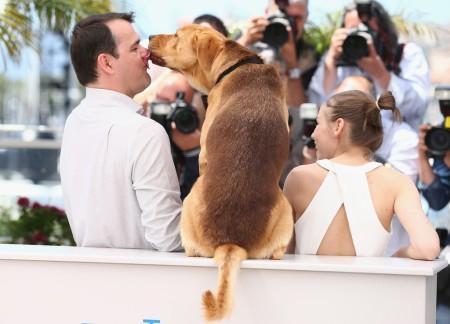 Mundruczó Kornél rendező, Psotta Zsófia színésznő és Hagen kutyaszereplő a Fehér Isten című filmjük premierjén a 67. Cannes-i Nemzetközi Filmfesztiválon 2014. május 17-én