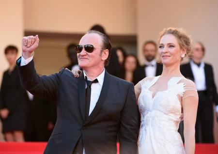 Uma Thurman amerikai színésznő és Quentin Tarantino amerikai rendező a 67. Cannes-i Nemzetközi Filmfesztiválon 2014. május 24-én