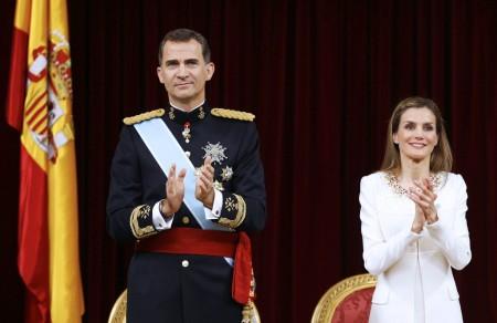 VI. Fülöp spanyol király és felesége, Letícia királyné az uralkodó beiktatási ceremóniáján Madridban 2014. június 19-én