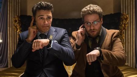 James Franco és Seth Rogen amerikai színészek a The Interview című film egyik jelenetében