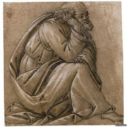 Sandro Botticelli itáliai festőművész Az ülő Szent Józsefhez készült rajza