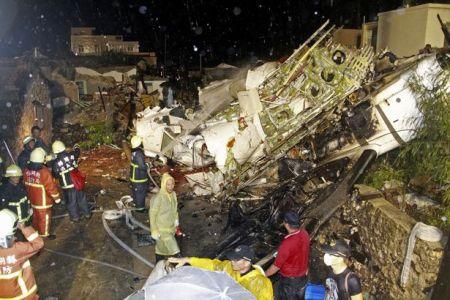 A Tajvanhoz tartozó, nyugati fekvésű Penghu-szigetek egyik szigetén történt repülőgép szerencsétlenség helyszíne 2014. július 23-án