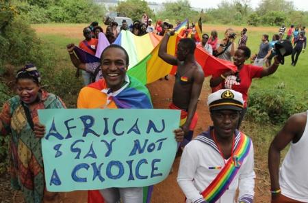 Ugandai homoszexuális-szimpatizánsok tüntetése