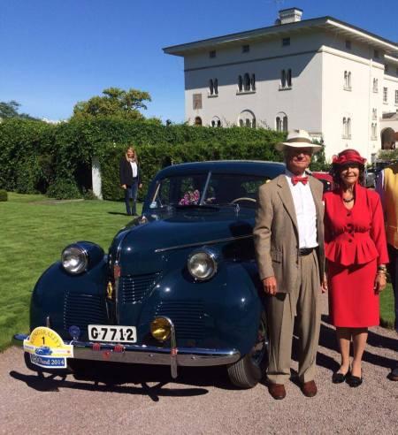 XVI. Károly Gusztáv svéd király és Szilvia királyné egy autóversenyen Olandban 2014. augusztus 15-én