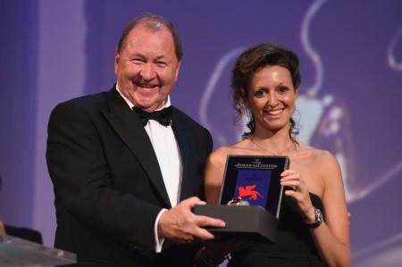 Roy Andersson svéd rendező az Arany Oroszlán-díjjal a 71. Velencei Nemzetközi Filmfesztiválon 2014. szeptember 6-án