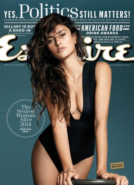 Penélope Cruz Oscar-díjas spanyol színésznő az Esquire magazin címlapján 2014 októberében